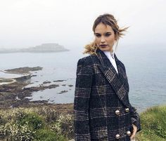 Behind the scenes photos of Lily James during her press tour on the island of Guernsey for The Guernsey Literary and Potato Peel Pie Society. Matt Smith Lily James, The Guernsey Literary, Famous Girls, Lily Collins, Celebs, Celebrities, Woman Crush, Autumn Winter Fashion, Celebrity Style