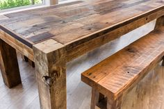 Reclaimed 4 Post table and benches!