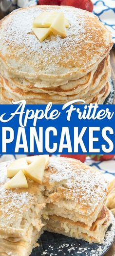 Apple Fritter Pancakes are an easy pancake recipe with apples grated right in. - Pancake Recipes Apple Fritter Pancakes are an easy pancake recipe with apples grated right in. - Pancake Recipes Apple Fritter Pancakes are an easy pancake recip. Apple Breakfast, Egg Recipes For Breakfast, Breakfast And Brunch, Pancake Recipes, Breakfast With Apples, Apple Pancake Recipe, Pancakes Easy, Apple Recipes Easy, Snacks