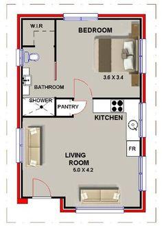 1 bedroom apartment floor plans 500 sf du apartments for Granny flat above garage plans