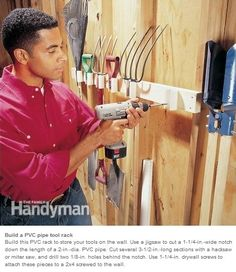 Clever Tool Storage Ideas Build a PVC pipe tool rack Build this PVC rack to store your tools on the wall. Use a jigsaw to cu Yard Tools, Garage Tools, Diy Garage, Garage Shop, Garden Tool Storage, Shed Storage, Garage Storage, Pvc Storage, Yard Tool Storage Ideas