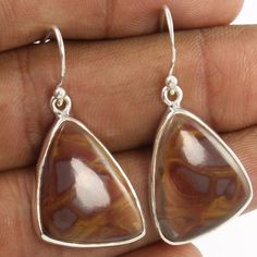Natural NOREENA JASPER Gemstones 16x20mm Stunning Earrings 925 Sterling Silver #Unbranded #DropDangle