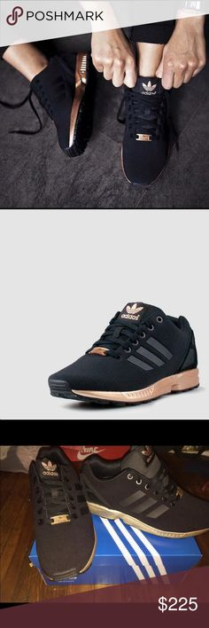 Women's Adidas Zx Flux Black and Rose Gold Brand new Adidas. Never worn before. In perfect condition. Limited edition. Not sold anywhere else, very rare. Black with rose gold. Very cute. They DO run a little big. Adidas Shoes Sneakers