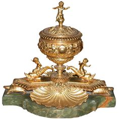 Napoleon III Gilt Bronze Desk Stand on Onyx Base | From a unique collection of antique and modern inkwells at http://www.1stdibs.com/furniture/more-furniture-collectibles/inkwells/