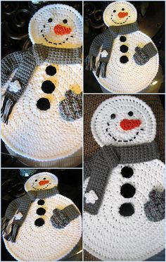 Crochet snowman placemats x Crochet Home, Love Crochet, Crochet Crafts, Yarn Crafts, Knit Crochet, Crochet Winter, Wood Crafts, Crochet Christmas Decorations, Christmas Crochet Patterns