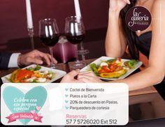 En #SanValentin vive un momento especial e inolvidable. disfruta en Restaurante la Galería, Cotel de bienvenida, 20% de descuento en pastas, Platos a la carta y parqueadero de cortesía. comunícate al 57 7 5726020 Ext 512 #cucuta #colombia