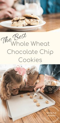 The Best Whole Wheat Chocolate Chip Cookies - Home Full of Honey Healthy Chocolate Chip Cookies, Chocolate Chip Oatmeal, Healthy Cookies, Yummy Cookies, Honey Cookies, Cookie Bar Party, Cookie Recipes For Kids, Super Cookies, Honey Chocolate