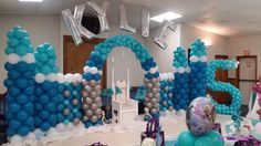 Personalized Disney Frozen Theme Balloon Castle Wall for Birthday Party.