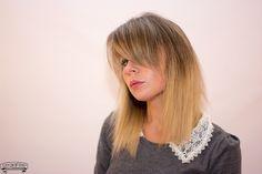 shoulder length ombre ash blonde hair, bangs style