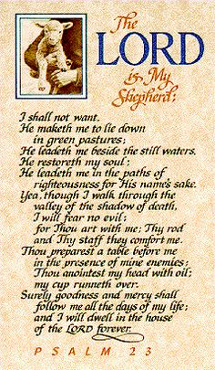 23rd Psalm - The Lord is my Shepherd, I shall not want... those words got me through 2 years of unemployment. I carried them in a card in my purse and when things were frustrating, depressing and seemingly hopeless, I read them over and over again.