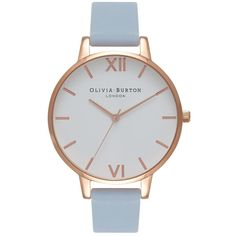 Olivia Burton Big Dial White Dial Watch - Chalk Blue & Rose Gold ($98) ❤ liked on Polyvore featuring jewelry, watches, pink gold watches, leather-strap watches, olivia burton, white dial watches and pink gold jewelry