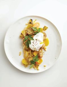 YELLOW - Roasted Potato Salad with Poached Eggs