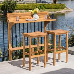Caribbean Outdoor Acacia Wood Balcony Bar Set by Christopher Knight Home (Brown), Patio Furniture Patio Bar, Pergola Patio, Patio Table, A Table, Pergola Cover, Pub Tables, Deck Bar, Small Balcony Furniture, Outdoor Furniture Sets