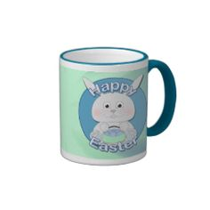 Cute Blue Bunny Boy with Easter eggs in a basket Happy Easter Coffee Mug by #PLdesign #Easter #HappyEaster #KawaiiBunny #EasterBunny #EasterGift