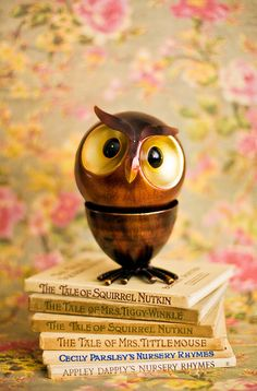Owl on Beatrix Potter books Pile Of Books, Owl Always Love You, Owl Crafts, Wise Owl, Owl Bird, Night Owl, Beatrix Potter, Wood Carving, Inspiration