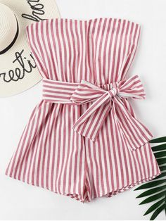 Striped Tube Romper - Chestnut Red S Cute Girl Outfits, Cute Summer Outfits, Girly Outfits, Cute Casual Outfits, Girls Fashion Clothes, Kids Fashion, Fashion Outfits, Cute Rompers, Look Chic