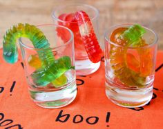 How to Make Vodka Gummy Worms for Halloween - Offer the Vodka Gummy Worms inside shot glasses for individual servings.  Just be careful – these spiked candy treats are STRONG!  They are also absolutely delicious so it's easy to lose count and find yourself face first in the punch bowl later in the night!