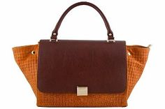 5% OFF EXTRA ON ANY HANDBAG!!  One Coupon Per Customer - Exclude Floto Handbags.  Etasico Rosealita Italian Leather Trapeze Woven Handbag Color Block Orange #http://www.pinterest.com/BagMadness1/