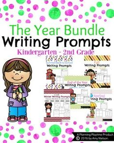This is a bundle of my 5 bestselling, seasonal first grade writing prompt sets. It includes 90 writing prompt organizers, 90 writing pages for those prompts, an extra blank draft page and an editing checklist for the students. First Grade Writing Prompts, Narrative Writing Prompts, Kindergarten Writing Prompts, Kindergarten Reading, Reading Activities, Literacy Activities, Teaching Kids, Kids Learning, Editing Checklist