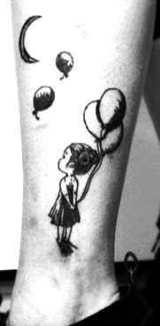 Leg Tattoo in memory of my best childhood friend I recently lost .... Girl with balloons floating away in the sky, to the moon....