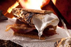 Bacon S'mores - Step Up the S'more with These 13 Campfire Treats - Pictures - Chowhound Campfire Cooking Recipes, Campfire Desserts, Campfire Food, Cooking Games, Camping Recipes, Cooking Pork, Camping Ideas, Just Desserts, Dessert Recipes