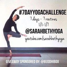 Free yoga challenge starting 1/1/2015! It's the #7DayYogaChallenge! Click through for details!   ***pin to your yoga board so your friends can join you!***