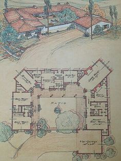 Cliff May and the California Home... reminds me of the old Mexican style home layout