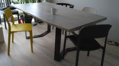 European Oak two Slabs table with metal legs