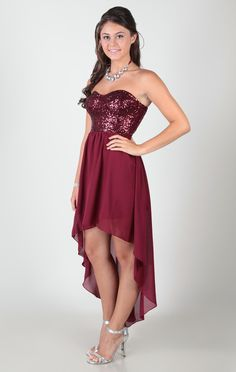 Strapless Dress with Sequined Corset Bodice and High Low Skirt