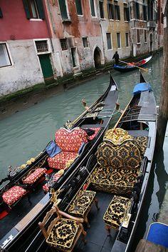 Gondolas At Rest. Venice, Italy.