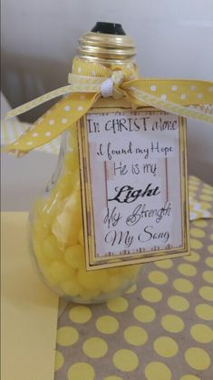 "Lds baptism gift for adult converts. Lightbulb from hobby lobby. Lyrics attached with ribbons: ""in christ alone i found my hope he is my light my strength my song. Filled with lemonheads."