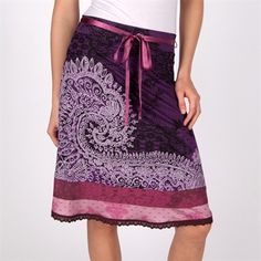 Desigual Tisdale Lace Printed Skirt with Paisley Design #VonMaur #Desigual #Purple #Printed