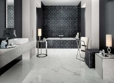 Bad Fliesen Mosaik Muster Elegant Marmor Fussboden Schwarz Weiss