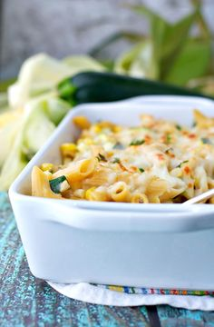This healthy Chicken Penne Casserole with Corn and Zucchini is oozing with melted cheese and a smooth, creamy sauce! It's the perfect clean eating dinner to showcase some of summer's best produce! Creamy Chicken Pasta, Chicken Penne, Healthy Chicken Pasta, Chicken Zucchini, Healthy Chicken Recipes, Healthy Dinner Recipes, Cooking Recipes, Zucchini Lasagna, Turkey Recipes