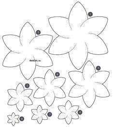 Простые выкройки для цветов из фетра