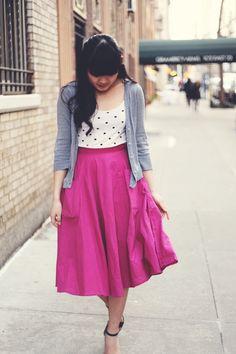 JennifHsieh Outfit | Gray Cardigan, Polka Dot Tank, Magenta Vintage Midi Skirt, Ankle Strap Heels