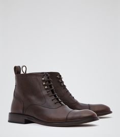 Mens Dark Brown Pebbled Leather Boots - Reiss Cali