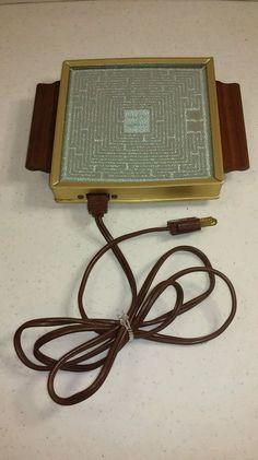 "Vintage Small Salton Hotray Hot Pad Electric Food Warmer H-100 Wood Handles 6.5"" #SaltonHotray"