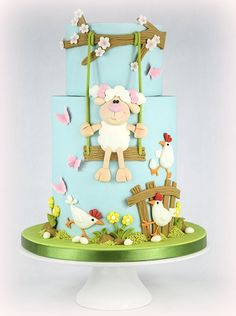 Little Lamb Easter Cake - SugarEd Productions Online Classes Creative Cake Decorating, Cake Decorating Tutorials, Creative Cakes, Easter Cupcakes, Easter Cake, Fondant Cakes, Cupcake Cakes, Baking Cupcakes, Flower Cake Pops
