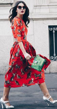 #fall #street #trends | Cat Print Midi Dress