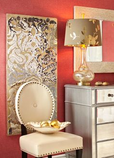Champagne Mirrored Mosaic Damask Panel | Damasks and Taupe