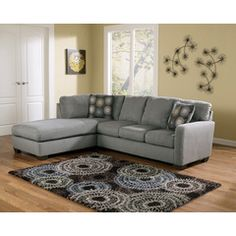 Zella Charcoal Sectional w/ Left Facing Chaise by Ashley - Home Gallery Stores Ashley Sectional, Charcoal Sectional, Ashley Furniture Sofas, Living Room Furniture, Furniture Stores, Sofa Furniture, Apartment Furniture, Cheap Furniture, Discount Furniture