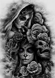 Skull With Roses Tattoos Tattoos Sleeve Tattoos Tattoo Designs