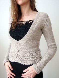 A Vogue Knitting pattern that I fixed up after in languished in my closet for 8 years! #03 Embellished V-Neck by Leah Sutton, knit by Dayana Knits