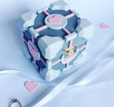 Companion Cube Wedding Ring BoxHandmade Portal by BelmouridaDesign