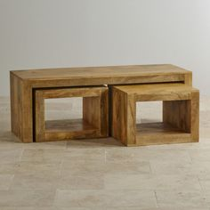 Mantis Light Natural Solid Mango 3 Cube Nest of Tables