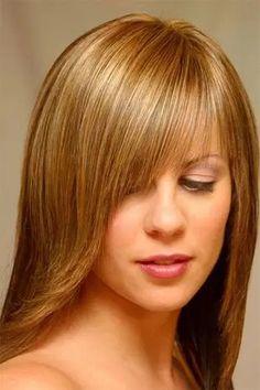 Косая челка на длинные волосы