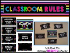 These neon and black classroom rules posters are perfect for any classroom. There is an editable PowerPoint file included.Check out my entire Classroom Brights Collection! You can save 40% by purchasing the bundle!