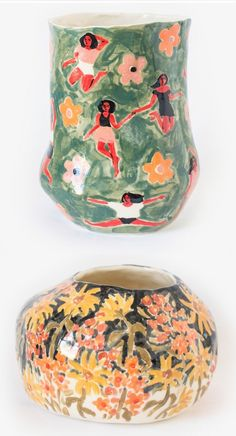 Ceramics by Leah Goren #illustratedceramics #paintedpots #flowerpattern