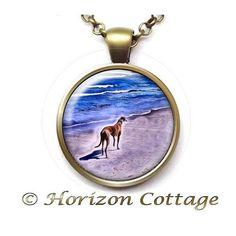 Greyhound on the Beach Necklace  Ocean Walk  Art by HorizonCottage